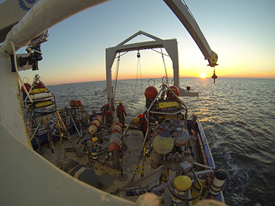 Equipment deployment off Cape Hatteras. Photo credit J. List.